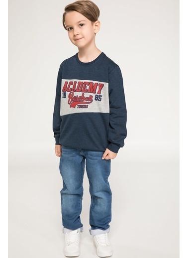 DeFacto Baseball Baskılı Sweatshirt Lacivert